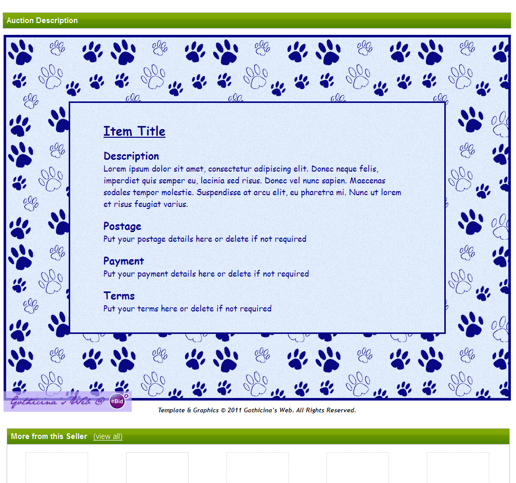 blue pawprints easy to use ebid auction listing template in shades of blue on ebid united kingdom